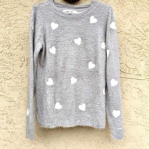 Lauren Conrad Soft Fuzzy Heart Sweater.